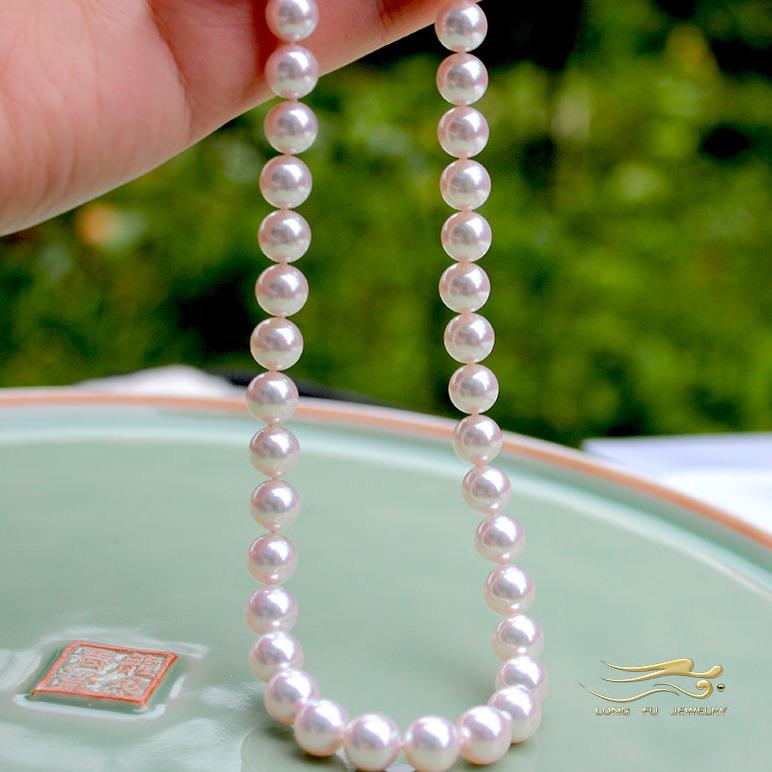 珍珠批發日本Akoya天然海水珍珠項鏈7.5-8正圓強光