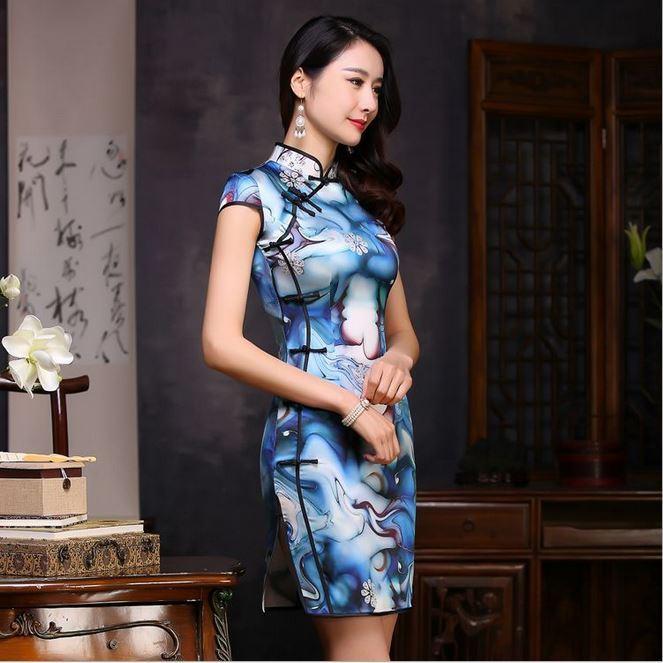 8694旗袍批发厂家直销桑蚕丝真丝旗袍改良时尚中国风复古一件代发