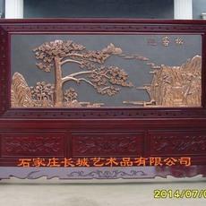 迎客松紫铜浮雕铜版画红木屏风大型屏风单位大厅摆放3200X2200mm