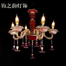 欧式 大气炉红釉钧瓷吊灯 客厅卧室餐厅时光6头灯饰