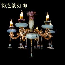欧式 大气炉钧釉钧瓷吊灯 客厅卧室餐厅出水芙蓉6头灯饰