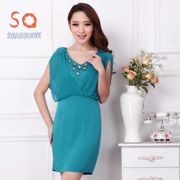 优质供应2014夏季新款女装无袖纯色真丝连衣裙