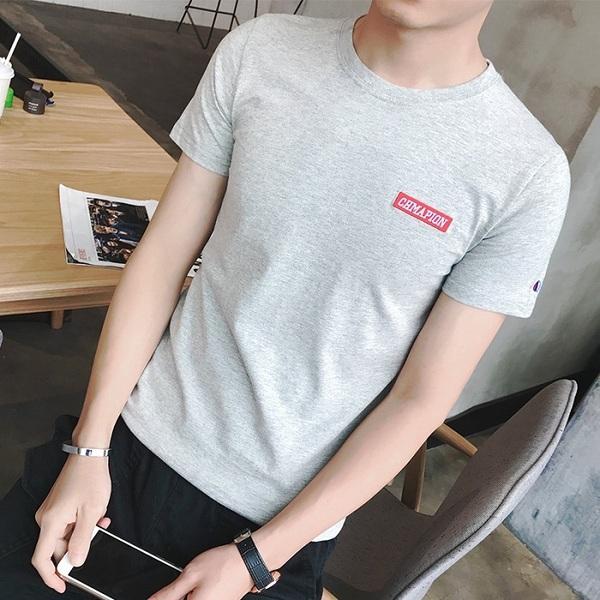 供应2017年新款夏装男士短袖t恤圆领刺绣修身青少年韩版半袖打底上衣服男装