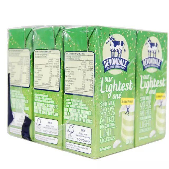 澳大利亚进口 德运Devondale 脱脂牛奶 200mlx24盒