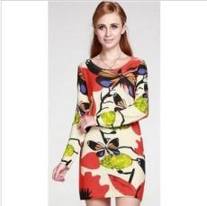 长款印花修身纯羊绒衫女产羊绒连衣裙
