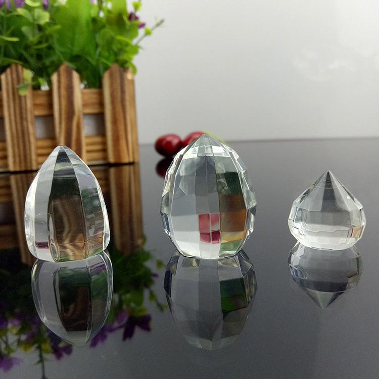 厂家批发水晶工艺品水晶尖球多面光面水晶球配件 水晶玻璃珠饰品