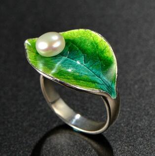 供应 景泰蓝绿叶天然淡水珍珠戒指
