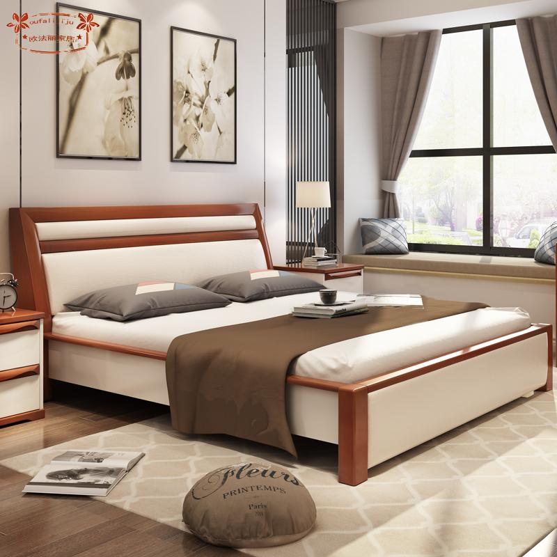 北欧全实木榻榻米双人床主卧床家具欧式现代简约实木床c818图片