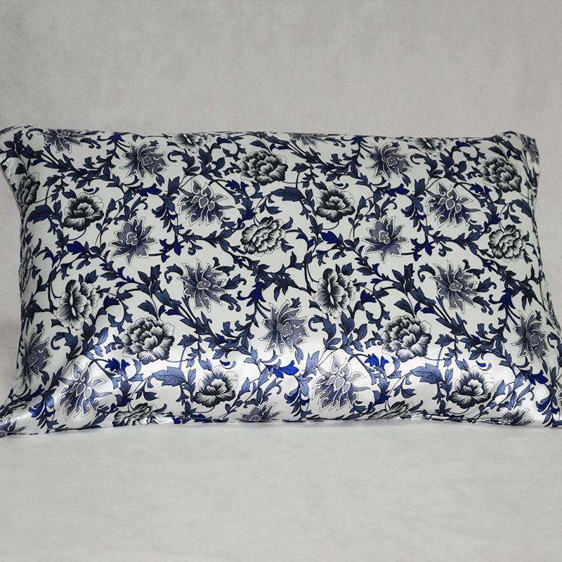 【蓝田生玉】依格尔 真丝枕巾枕套 100%桑蚕丝绸系带单面单只枕头套 四季单人枕芯套50×76cm