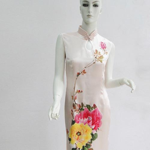丝绸服饰 真丝旗袍  顺成纺织丝绸旗袍 蜀绘旗袍 修身