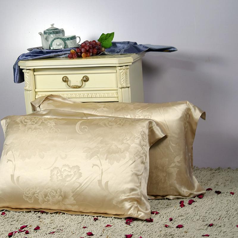 【香槟色】依格尔 家居床品 双面提花真丝枕套 100%桑蚕丝 单只 信封款 48×74+5cm