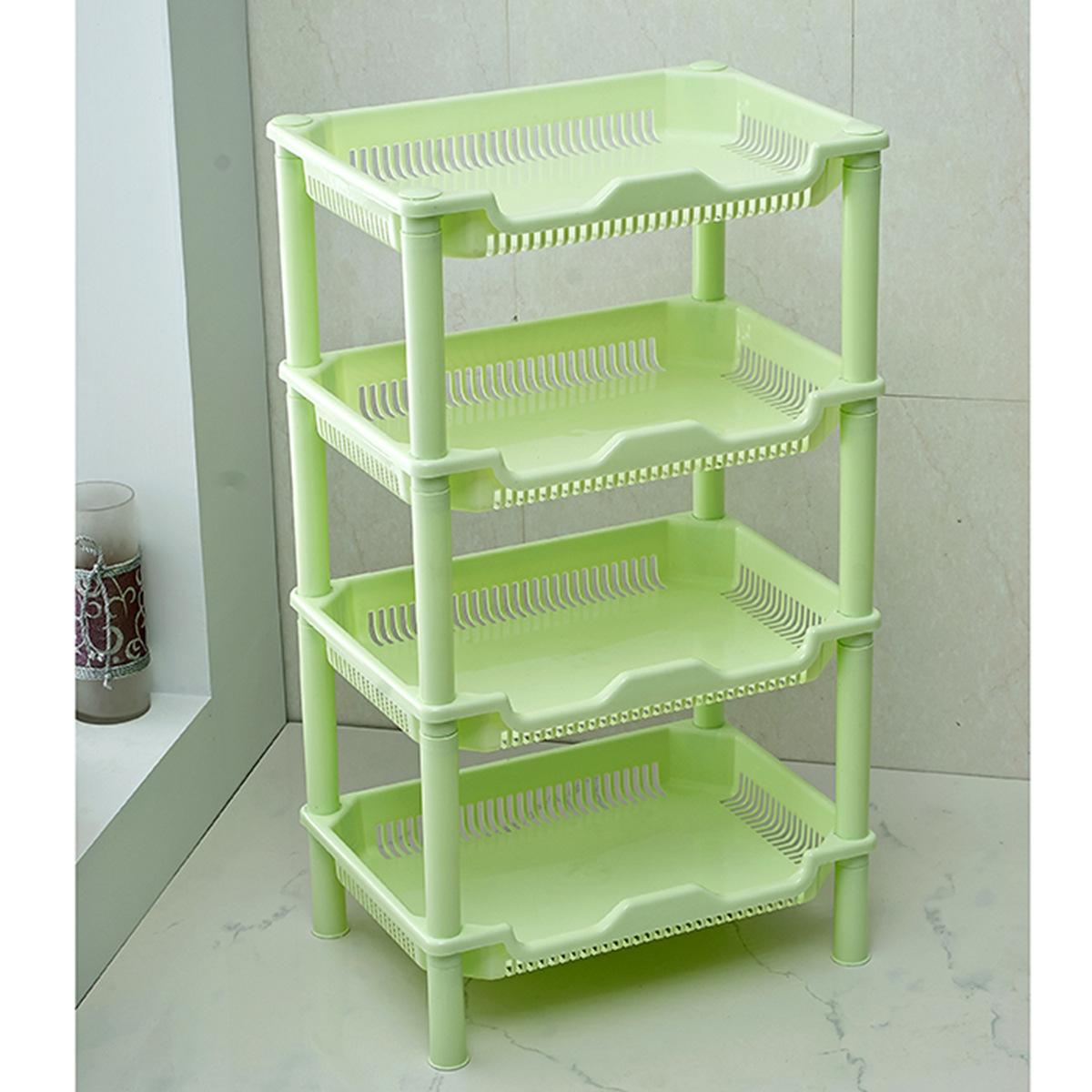 批发大号塑料置物架家居长方形四层塑料组合收纳架置物架厂家直销