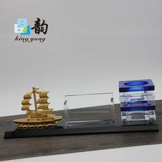 晶韵厂家直销水晶办公摆件三件套笔筒金属帆船配件办公工艺礼品