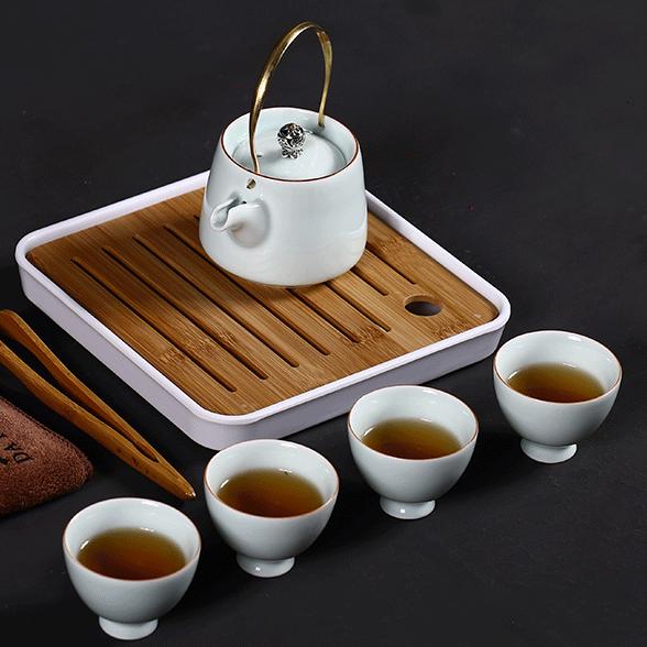 供应大润窑旅行茶具套装一壶四杯白瓷提梁壶功夫茶具整套礼品定制LOGO