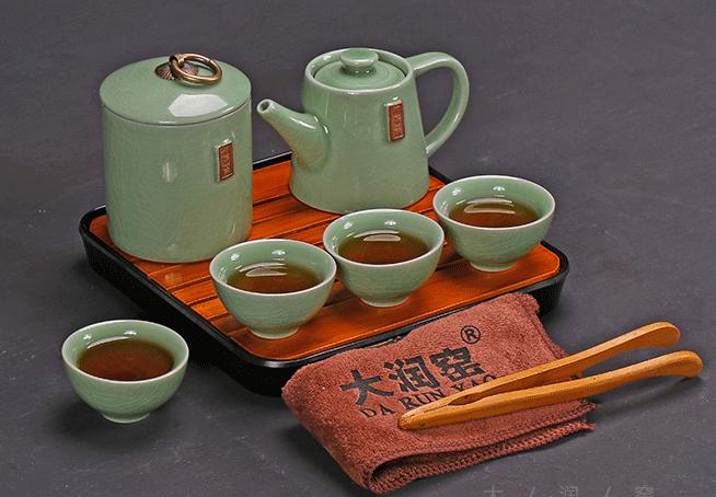 供应旅行茶具快客杯一壶四杯茶盘陶瓷功夫茶具套装哥窑开片釉