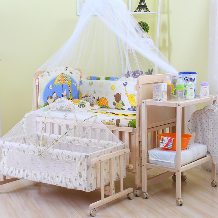 唯宝婴儿床实木多功能宝宝床摇篮床摇床新生儿无漆儿童床