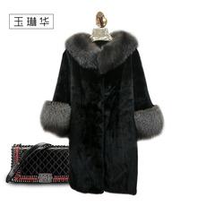 玉琳华进口黑貂狐狸毛领女大衣