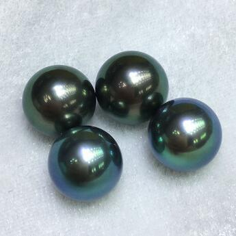 供应 12-13mm大溪地孔雀绿黑珍珠无瑕海水珍珠裸珠散珠吊坠戒指定制