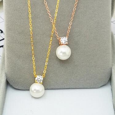 供应 新品贝珠项链简约可爱小方形锁骨琏女款珍珠吊坠项坠