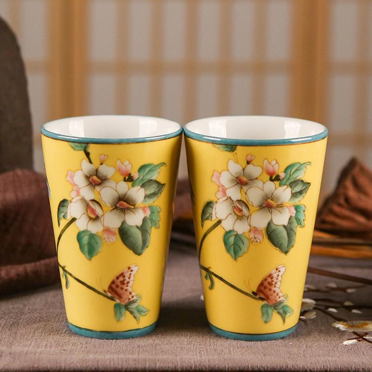 新中式手绘创意陶瓷杯子家居创意装饰创意情侣漱口杯酒店卫浴用品