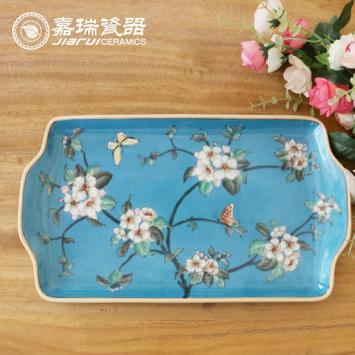 供应新款现代中式创意纯手工彩绘陶瓷大长方托盘酒店家用茶盘杯托盘子