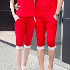 春夏新款五分裤 拼接撞色户外运动亲子装 休闲运动裤