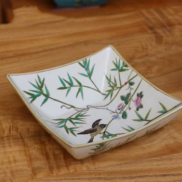 供应创意家用四方尖角果盆现代手绘陶瓷果碗高档家居日用酒店餐厅果篓