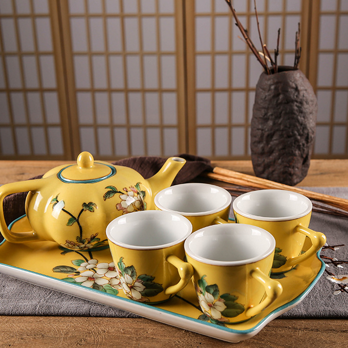 供应新款陶瓷茶具中式现代风纯手工彩绘功夫茶具套装酒店高档家具礼品