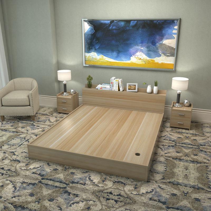 现代简约板式床1.2米1.5米1.8米双人床榻榻米高箱储物床木质定制图片
