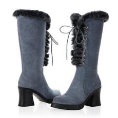 女靴欧洲站 真皮牛翻皮前系带高跟兔毛中筒皮靴