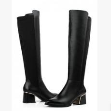 新潮女靴 粗高跟真皮过膝气质弹力马丁靴 长筒靴子 鞋靴市场