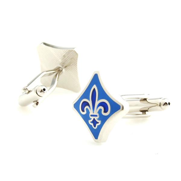 凹边菱形袖口钮 欧洲中世纪古典花纹元素浅蓝色珐琅袖扣cufflinks