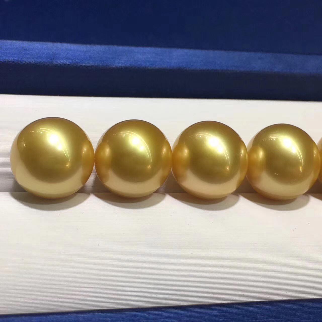 天然深金色无瑕金珠裸珠 12-13mm 色泽好 每个都精选适合做对珠