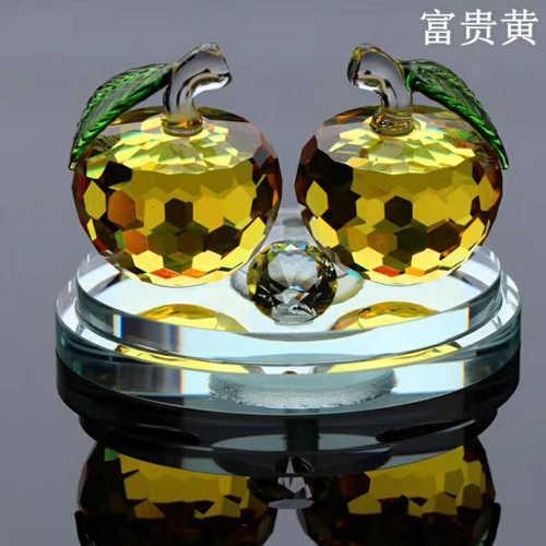 新款高档水晶苹果汽车摆件 钻石车载香水座 创意汽车用品摆件 家居摆件