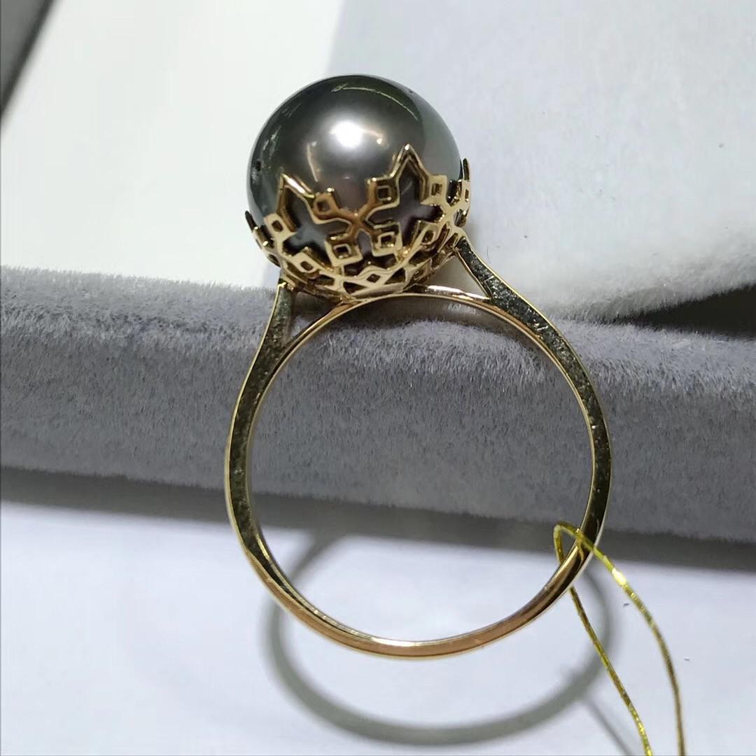 18k金大溪地黑珍珠戒指 珍珠直径12-13mm 气质高贵优雅