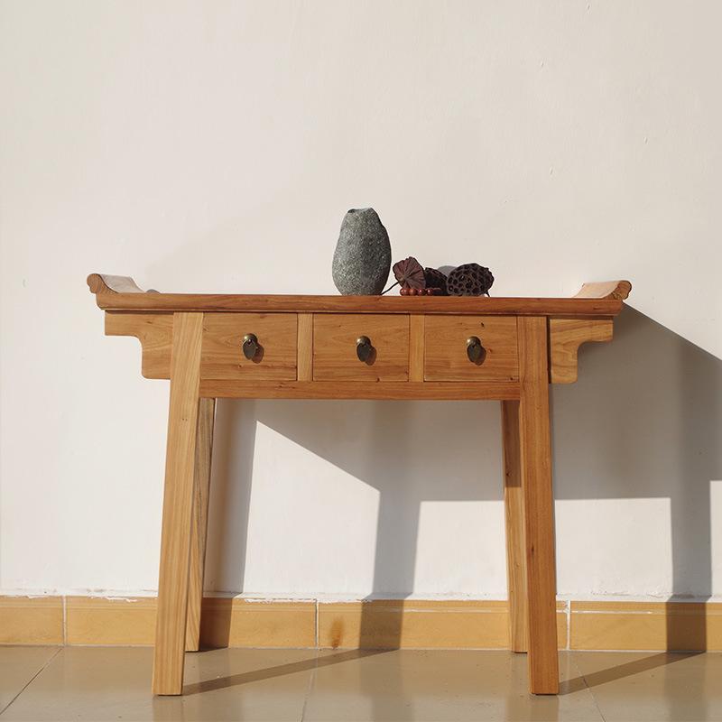 新中式仿古玄关桌供桌现代简约条案供台原木家具榆木实木财神桌图片