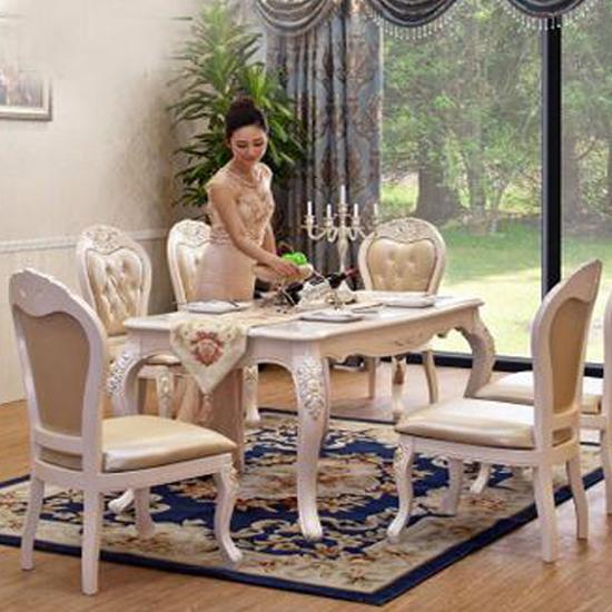 供应欧式餐桌 法式田园纯实木雕花长方形餐厅饭桌家具 大理石餐台椅子图片
