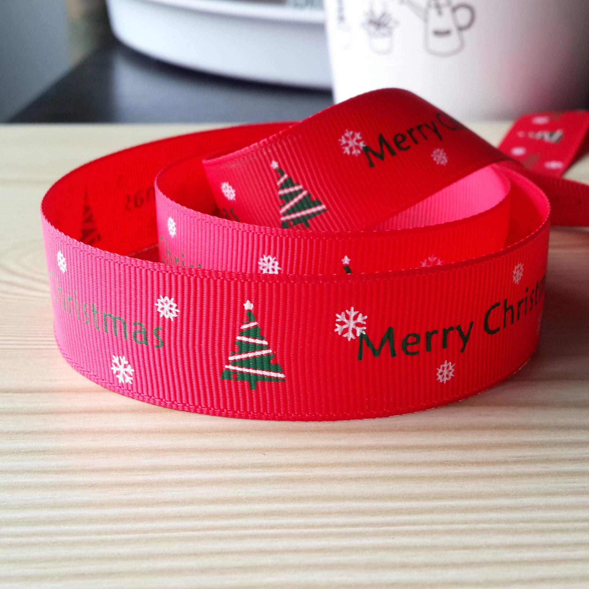 蓓美 22MM大红色圣诞印刷织带礼品包装/DIY