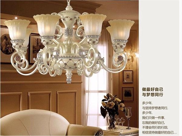 欧式吊灯田园简欧客厅灯具铁艺术树脂餐厅灯饰复古灯图片