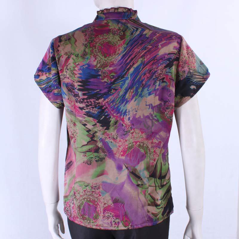 掌柜推荐 中老年妈妈夏装 100%真丝香云纱 时尚短袖上衣8509两色