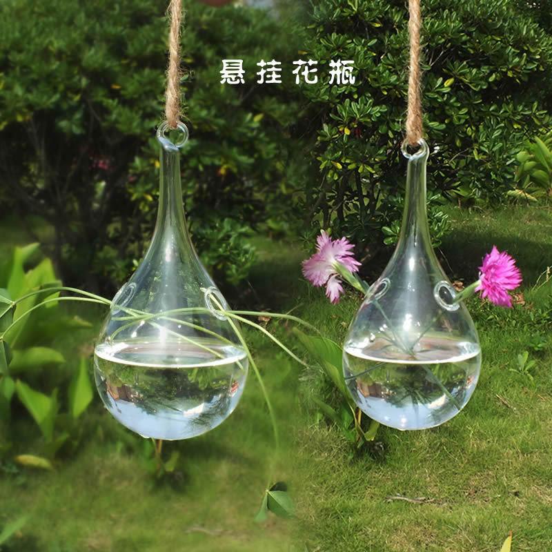 悬挂式创意水滴型吊球花瓶 水晶透明玻璃花瓶 插花工艺品