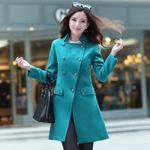 秋冬装新款韩版女装呢子中长款羊绒风衣外套