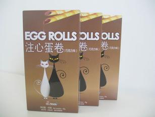 爆款进口美食嘉注心夹心蛋卷(香芋、巧克力)45g*36 休闲好零食