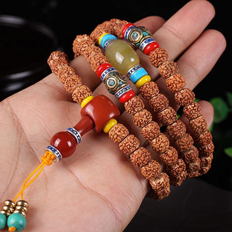 纯手工藏式五瓣红皮小金刚菩提108颗 菩提子手串佛珠肉纹手链饰品图片