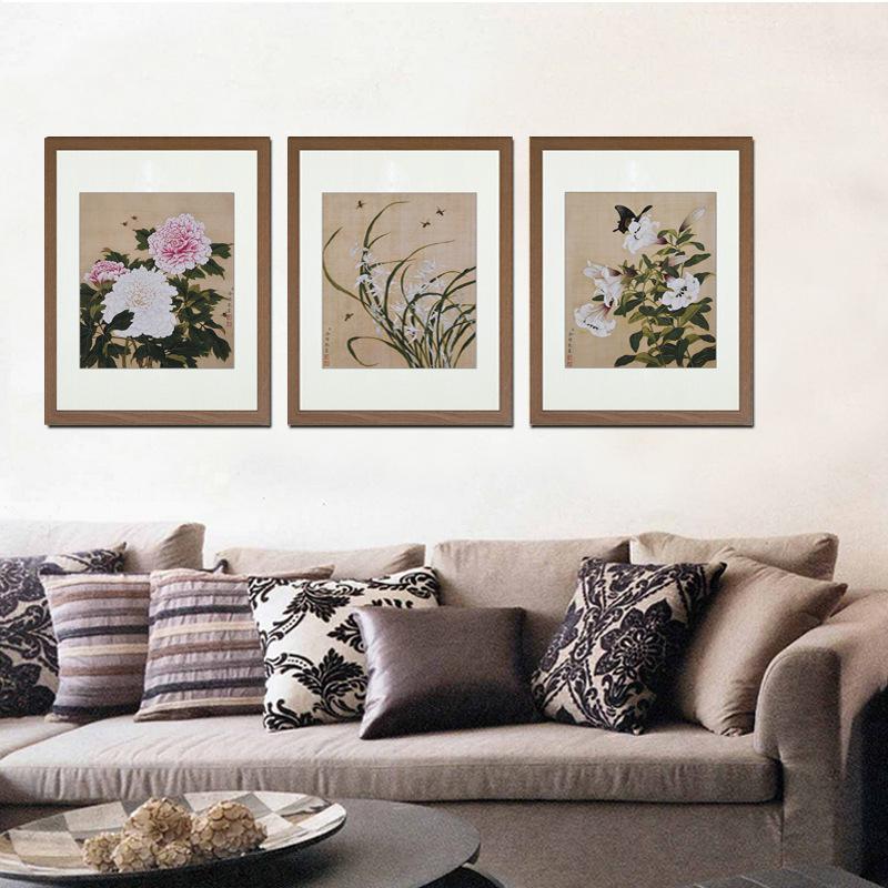 现代中式装饰三联画徐悲鸿花鸟沙发背景墙客厅卧室挂画图片