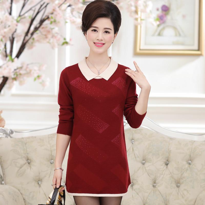 2016秋冬新款女士套头针织衫 韩版中长款中老年大码羊毛连衣裙