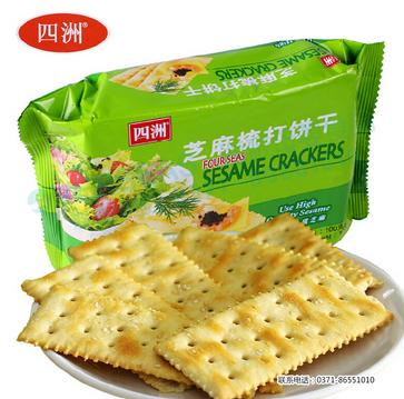 四洲芝麻梳打饼100g零食 小吃 特产 休闲食品批发 饼干批发