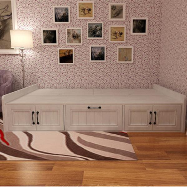 家米乐 韩式田园 时尚单人床 高箱收纳储物功能床 板式床榻榻米图片
