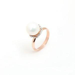 珍珠热门供应 北海珍珠戒指 简约时尚 微镶捷克钻 韩版珍珠戒指