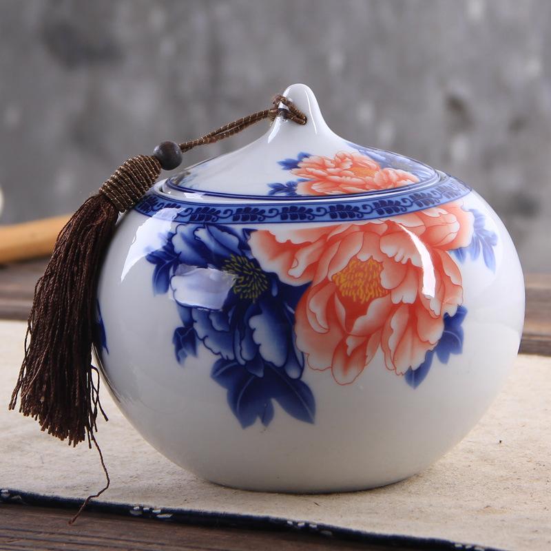陶瓷青花瓷礼品茶叶罐储物罐家居摆件牡丹花